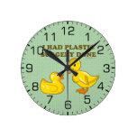 I Had Plastic Surgery Ducks Round Clock