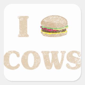 I Hamburger Cows Square Sticker