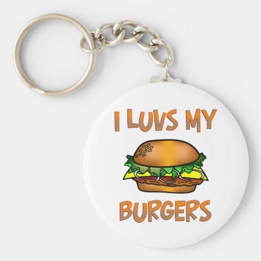 I hamburguesas de Luvs Llavero Redondo Tipo Pin