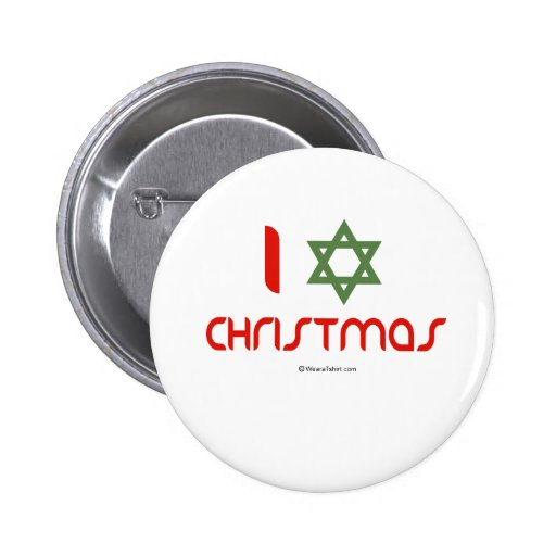 I Hanukkah Christmas green 2 Inch Round Button
