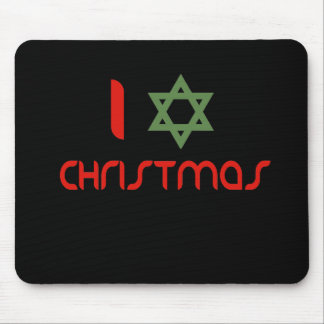 I Hanukkah Christmas green Mouse Pad