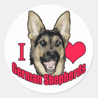 I Hart German Shepherd Classic Round Sticker
