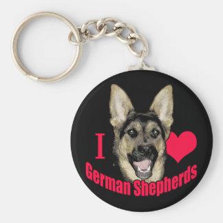 I Hart German Shepherd Keychain