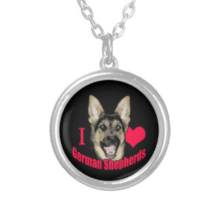 I Hart German Shepherd Silver Plated Necklace