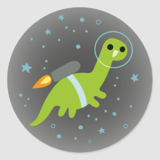 """""""I Has Jetpack!"""" Flying Brontosaurus with Jetpack Classic Round Sticker"""