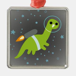 """I Has Jetpack!"" Flying Brontosaurus with Jetpack Metal Ornament"