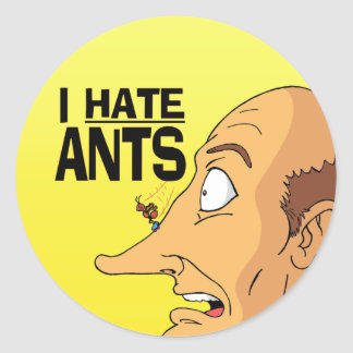 I HATE ANTS CLASSIC ROUND STICKER