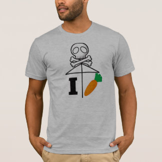 I Hate Carrot/One Skull Umbrella Black T-Shirt