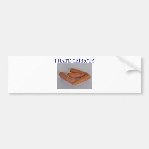 I hate carrots car bumper sticker