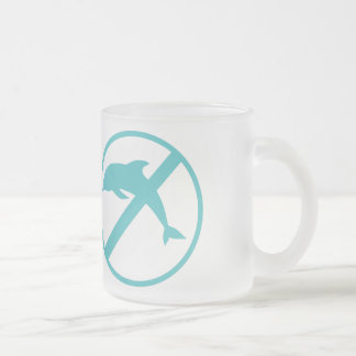 I hate dolphins 10 oz frosted glass coffee mug
