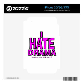 I HATE DRAMA DECALS FOR iPhone 3G