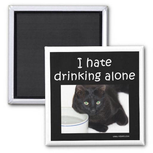 I hate drinking alone 2 inch square magnet
