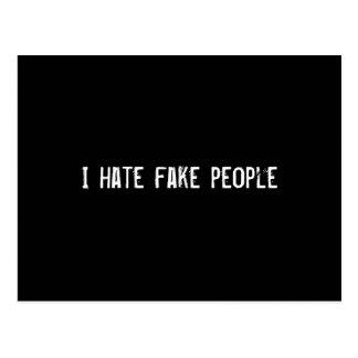 I hate fake people postcard