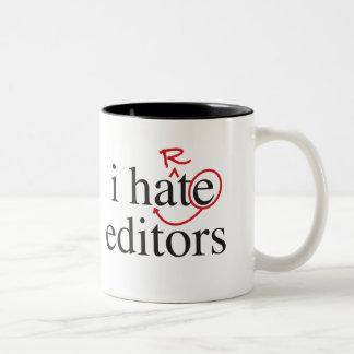 i hate/heart editors Two-Tone coffee mug