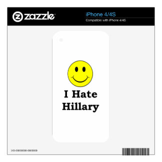 I Hate Hillary  happy smiley face Decal For iPhone 4