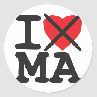I Hate MA - Massachusetts Stickers