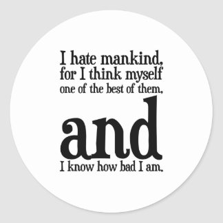 I Hate Mankind Classic Round Sticker