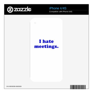 I Hate Meetings Decals For iPhone 4S