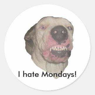I Hate Mondays Classic Round Sticker