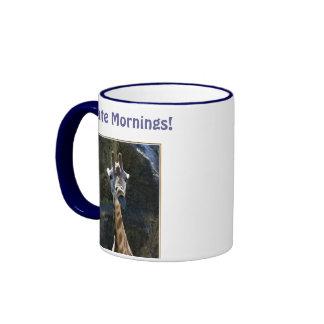 I Hate Mornings, Giraffe Sticking Tongue Out Ringer Mug