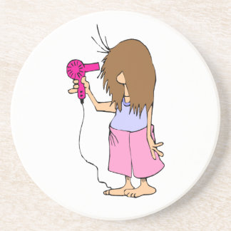 I Hate Mornings Woman Getting Ready Sandstone Coaster