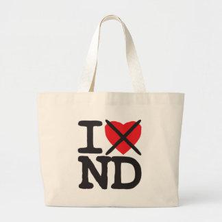 I Hate ND - North Dakota Large Tote Bag