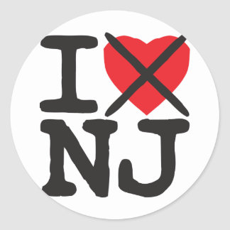 I Hate NJ - New Jersey Classic Round Sticker