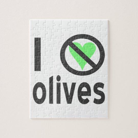 I Hate Olives Black Jigsaw Puzzle