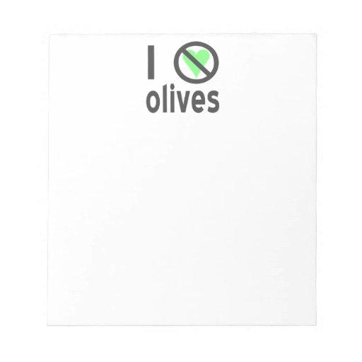 I Hate Olives Black Memo Note Pads