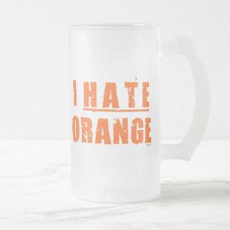 I HATE ORANGE FROSTED GLASS BEER MUG