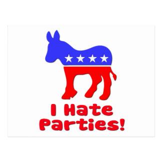 I Hate Parties  Democrat Postcard