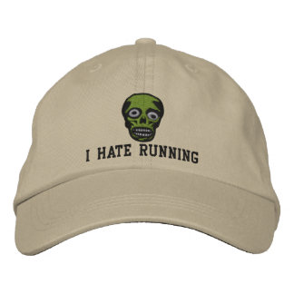I Hate Running Zombie Hat Embroidered Baseball Cap