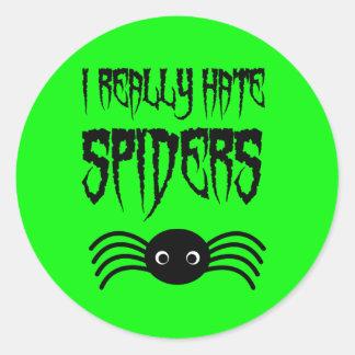I hate Spiders Round Stickers