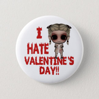 i hate valentines day emo punk girl button