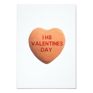 I Hate Valentines Day Orange Candy Heart Card