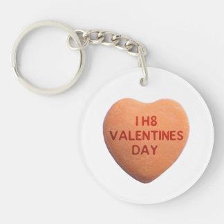 I Hate Valentines Day Orange Candy Heart Keychain
