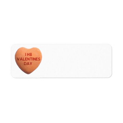 I Hate Valentines Day Orange Candy Heart Return Address Label