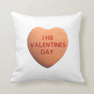 I Hate Valentines Day Orange Candy Heart Throw Pillow