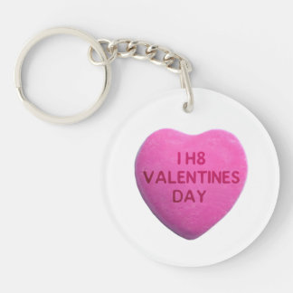 I Hate Valentines Day Pink Candy Heart Keychain