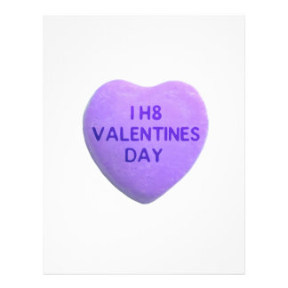 I Hate Valentines Day Purple Candy Heart Personalized Flyer
