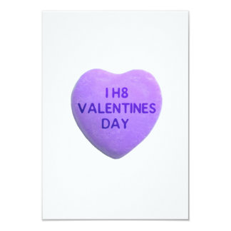 I Hate Valentines Day Purple Candy Heart 3.5x5 Paper Invitation Card