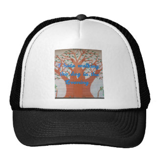 I hate walking the dog in the evening. trucker hat