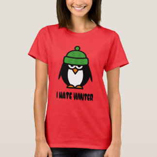 I hate winter t shirts with grumpy penguin cartoon
