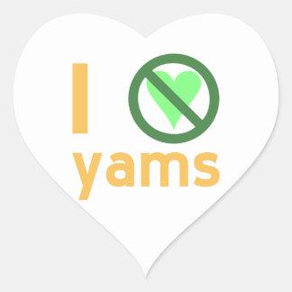 I Hate Yams Heart Sticker