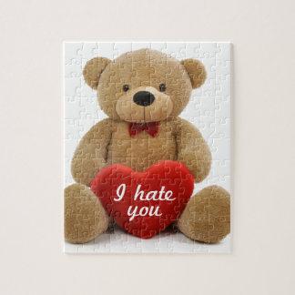 """I hate you"" cute teddy bear holding love heart Jigsaw Puzzle"