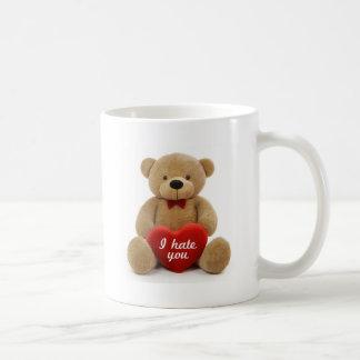 """I hate you"" cute teddy bear holding love heart Classic White Coffee Mug"
