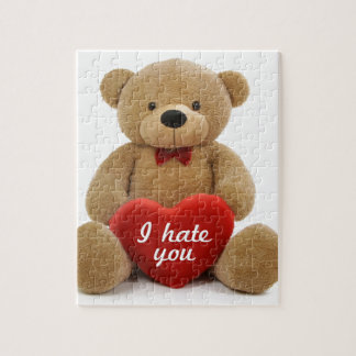 """""""I hate you"""" cute teddy bear holding love heart Puzzle"""