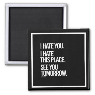 I hate you I hate this place See you Tomorrow -    Magnet