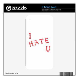 I Hate You - Written In Hearts iPhone 4S Skin