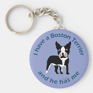 I have A Boston Terrier Basic Round Button Keychain
